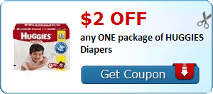 $2.00 off any ONE package of HUGGIES Diapers