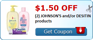 $1.50 off (2) JOHNSON'S and/or DESITIN products