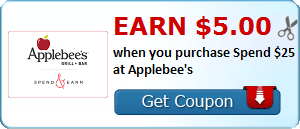 Earn $5.00 when you purchase Spend $25 at Applebee's