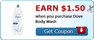 Earn $1.50 when you purchase Dove Body Wash