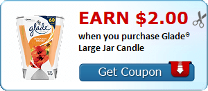 Earn $2.00 when you purchase Glade® Large Jar Candle