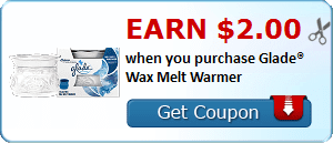 Earn $2.00 when you purchase Glade® Wax Melt Warmer