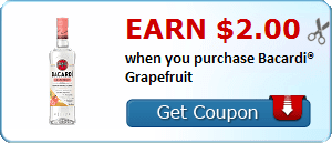 Earn $2.00 when you purchase Bacardi® Grapefruit