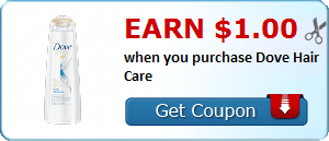 Earn $1.00 when you purchase Dove Hair Care