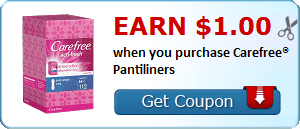 Earn $1.00 when you purchase Carefree® Pantiliners