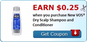 Earn $0.25 when you purchase New VO5® Dry Scalp Shampoo and Conditioner