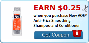 Earn $0.25 when you purchase New VO5® Anti–Frizz Smoothing Shampoo and Conditioner