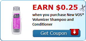 Earn $0.25 when you purchase New VO5® Volumizer Shampoo and Conditioner