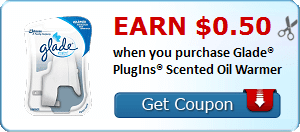 Earn $0.50 when you purchase Glade® PlugIns® Scented Oil Warmer