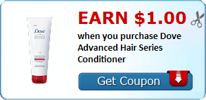 Earn $1.00 when you purchase Dove Advanced Hair Series Conditioner