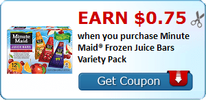 Earn $0.75 when you purchase Minute Maid® Frozen Juice Bars Variety Pack