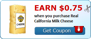 Earn $0.75 when you purchase Real California Milk Cheese