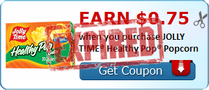 Earn $0.75 when you purchase JOLLY TIME® Healthy Pop® Popcorn