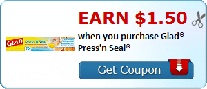 Earn $1.50 when you purchase Glad® Press'n Seal®