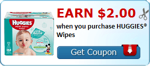 Earn $2.00 when you purchase HUGGIES® Wipes