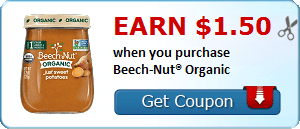 Earn $1.50 when you purchase Beech-Nut® Organic