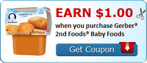 Earn $1.00 when you purchase Gerber® 2nd Foods® Baby Foods