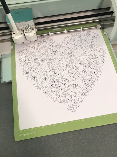 DIY Adult Coloring Pages You Can Create Using Your Cricut Heart Image on Cricut Mat
